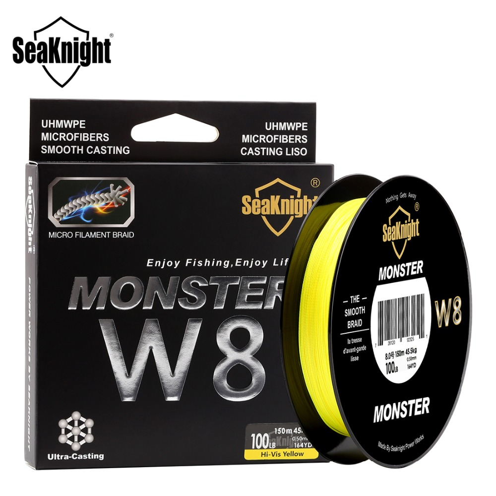 SeaKnight Monster 8 Strands Braided Fishing Line 150M PE Strong Multifilament Sea Fishing 20-100LB Carp Fishing