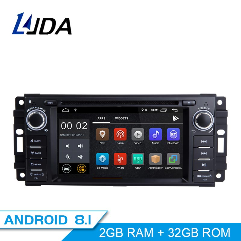 LJDA Android 8.1 Autoradio Multimédia DVD GPS Pour Dodge RAM 1500 Chrysler Sebring Jeep Compass Commandant Grand Cherokee Wrangler