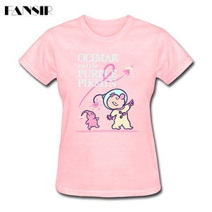 Funny Lady T Shirts Olimar and the Purple Pikmin Clothing T-shirts Women's Short Sleeve 100% Cotton Lowest Price Tshirts(China)