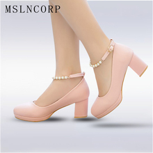 plus size 34-43 Women High Heels Platform Pearls String Bead Ankle Strap Ladies Dress Pumps Prom Evening Bridal Wedding Shoes цены онлайн