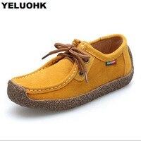 7 Colors Nubuck Leather Flat Shoes Women Comfortable Casual Shoes Spring Autumn Women Driving Shoes Large Size