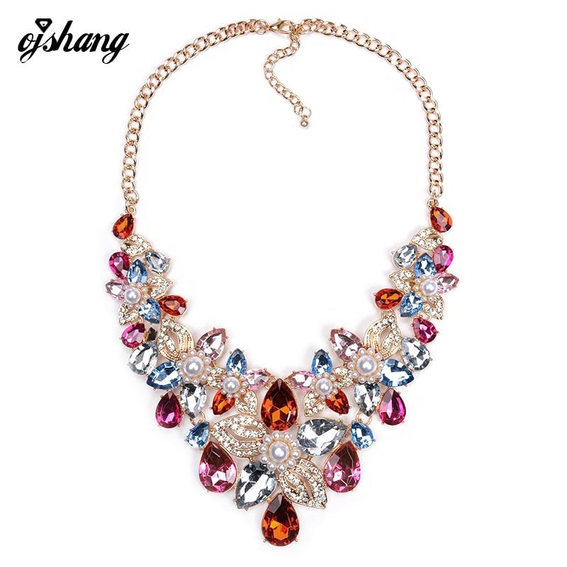 Fashion Women 2016 ZA Gem Necklaces Pendants Pearl Collier Femme Collar Populare Choker Costume Maxi Jewelry