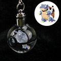Blastoise Novelty Mini Portable Pokemon Go Engraving Round 3D Crystal Glass Ball LED Keychain Colorful Pendant Child Gift