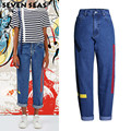 New Fashion Painted Baggy Boyfriend Jeans Loose Blue Wide Leg Pants High Waisted Jeans Femme Vaqueros mujer