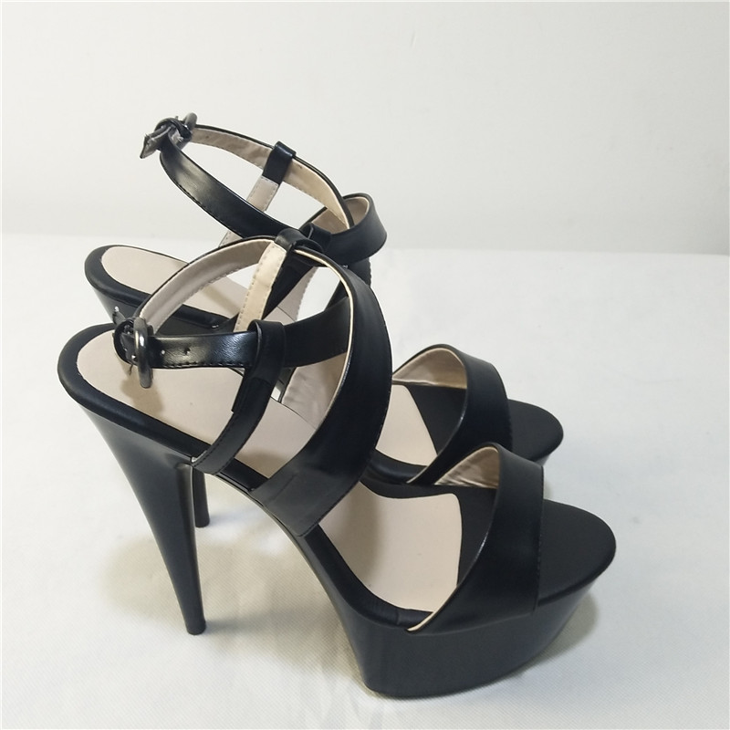Sales champion new simulation skin thick with sandals with decorative 15 cm high heels glass with