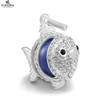 5PCS Animal Fish with White Clear Crystals Bola Locket Cage Pendant Necklace fit for Purple Harmony Bola Chime Ball Jewelry