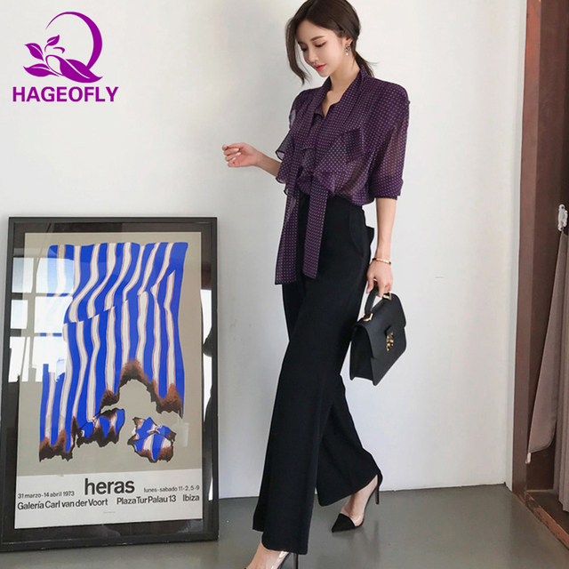 cd658a5a399 HAGEOFLY Autumn Women s Set Tops with Pants 2 Pieces Set Korean Purple  Polka Dot Ruffles Long Sleeve Shirts Women s Suits Sets