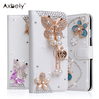 Luxury Crystal Flip Case For Xiaomi Redmi 5 Case Rhinestone Glitter Flower Wallet Leather Cover For