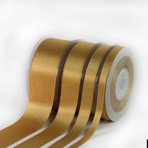 Image 4 - 9mm,16mm,25mm,38mm Gold Weft Polyester Satin Ribbon double face Wedding Decoration Candy Cake Wrapping Craft 100yards Lot P268