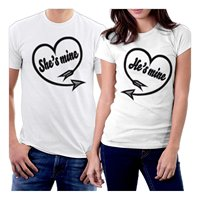 Military T Shirts Men'S Short Sleeve Summer O Neck Simple Splicing A Team She Mine & He Mine Hearts Couple Tee Shirt