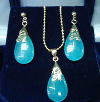 Charming Natural Blue Jade Pendant Necklace Earrings Set AAA Top Grade Women Jewerly