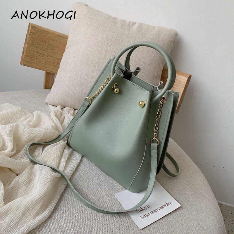 Solid Green Fashion Women Shoulder Bags Zipper Style Leather Summer Metal Chain Ladies Crossbody Bag Candy Color Handbags B333