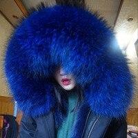 Women Real Fox fur Parka 2017 New Winter Jacket Natural Fox Fur Lining Parka Coat Real Large Raccoon Fur Collar Coat Women Parka