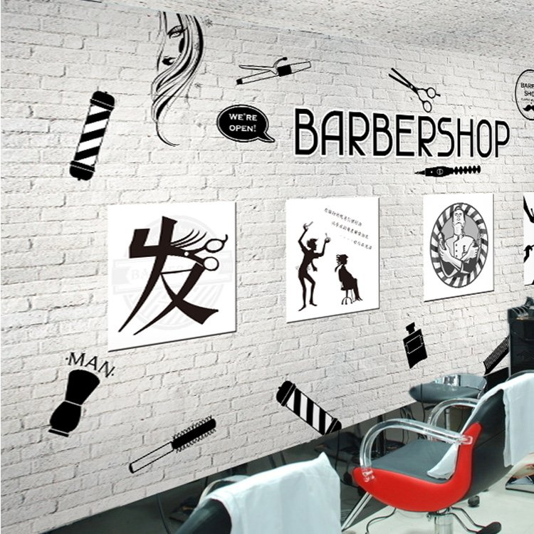 Free Shipping 3D personalized fashion beauty salon wallpaper wood retro brick pattern barbershop background wallpaper mural