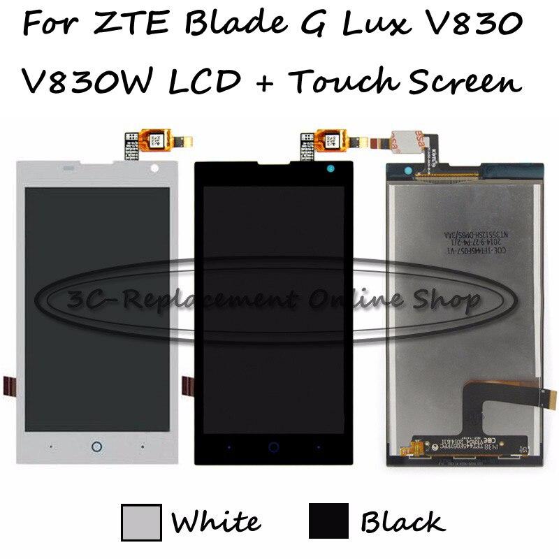 imágenes para Negro/blanco lcd + tp para zte blade g lux/kis 3 Max V830 V830W Pantalla LCD con Digitalizador de la Pantalla Táctil Smartphone reemplazo