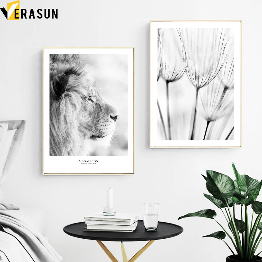 Lion Dandelion Quote Wall Art Canvas Painting Nordic Posters And Prints Black And White Wall Pictures For Living Room Home Decor in Painting Calligraphy from Home Garden