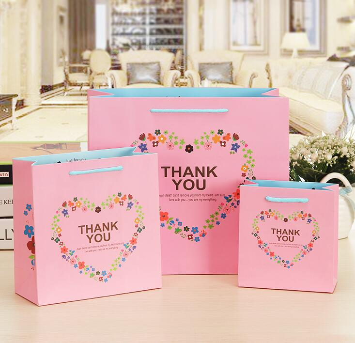 Romantic Heart Thank You Printing Paper Gift Bags Handle 10pcs
