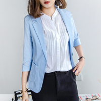 Summer Women Chiffon Blazer Coat 2017 New Fashion Casual Jacket 3 4 Sleeve One Button Suit
