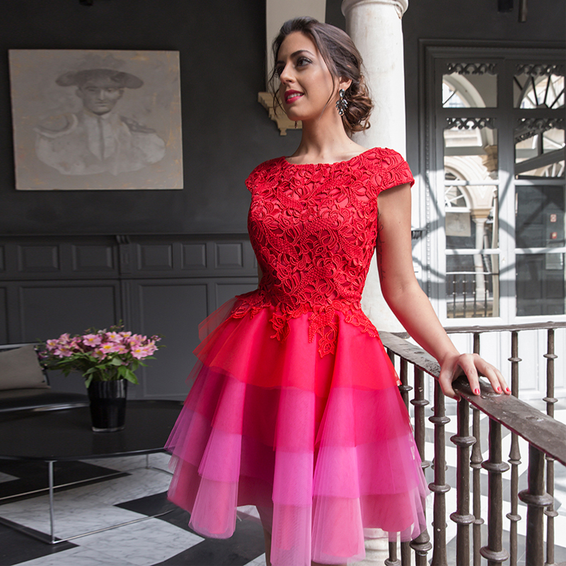 2019 Red 2019 Elegant A-line Cap Sleeves Short Tiered Tulle Lace Party Plus Size   Evening     Dresses
