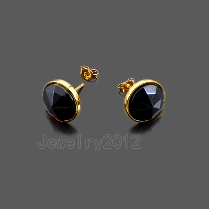 10 Paare/los Natural Black A-tor Runden Facettierten Edelstein Gold Platte-d Ohrringe Healing Chakra Anhänger Diy Schmuck Großhandel