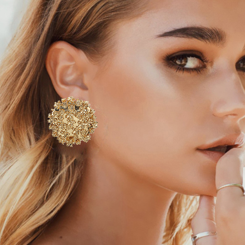 2019 Gold Silver Alloy stud Earrings For Women Exaggeration Earrings Wedding Simple Fashion Jewelry Trend Accessories