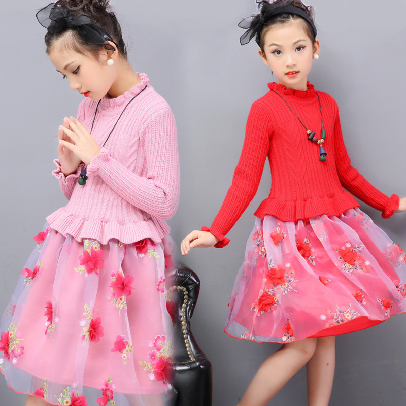Baby Girls Dress Spring Autumn Winter Warm Thick Kids Children Party Wedding Princess Sweater Girl Dresses Ball Gown for 3-12Y children clothing new winter style knitted thick warm girl dress mesh patchwork o neck cute autumn baby kids girls dresses xl269