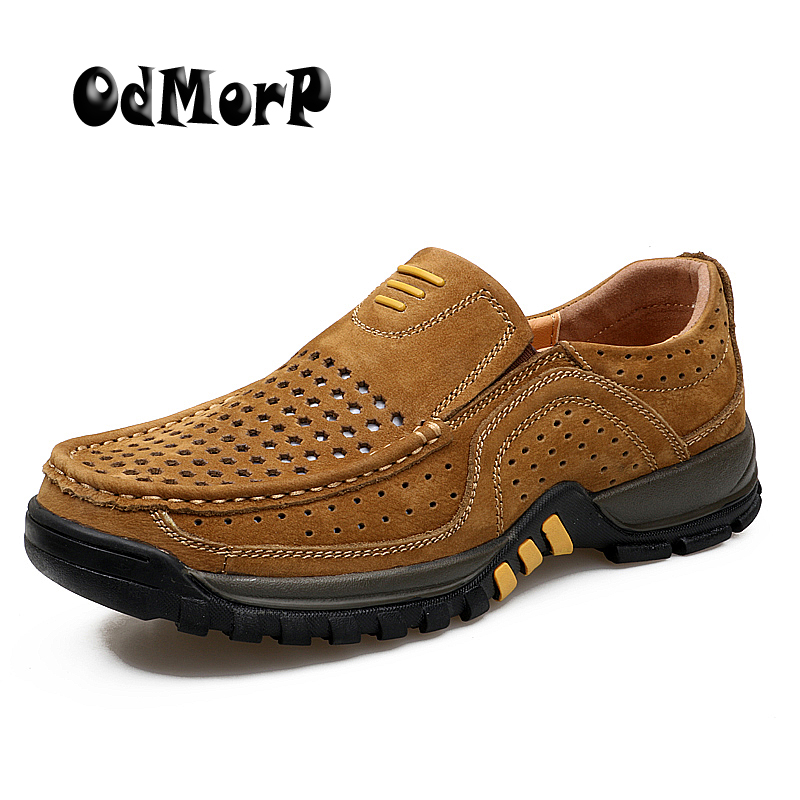 ODMORP Summer Genuine Leather Shoes Breathable Men Shoes Brown Fashion Designer Casual Shoes Slip On Loafer Quality Rubber new 2017 men s genuine leather casual shoes korean fashion style breathable male shoes men spring autumn slip on low top loafers