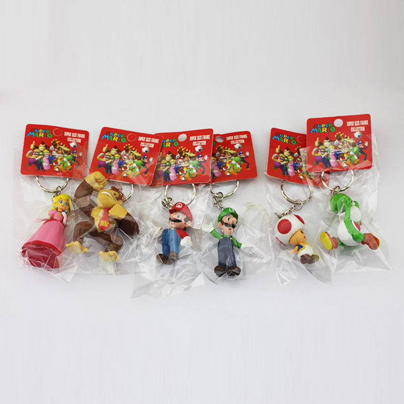 6Pcs/Set <font><b>Super</b></font> <font><b>Mario</b></font> <font><b>Bros</b></font> Figure Donkey Kong <font><b>Yoshi</b></font> <font><b>Peach</b></font> <font><b>Mario</b></font> <font><b>Luigi</b></font> <font><b>Toad</b></font> PVC Figures Toys With Keychains 3-7cm Free Shipping