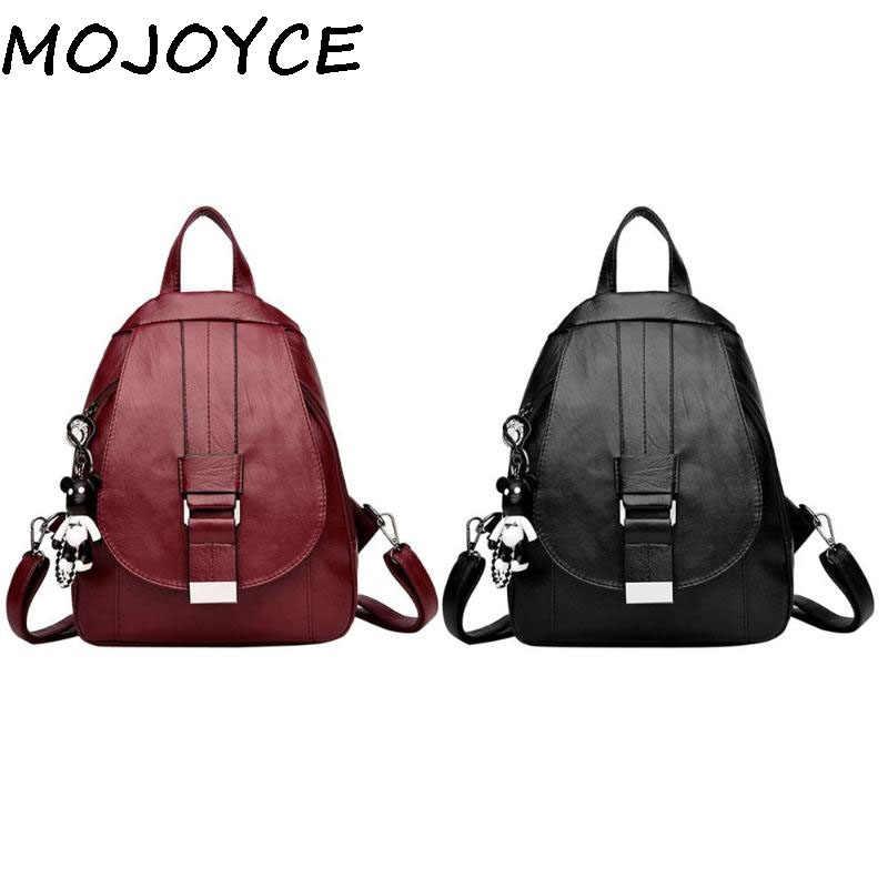d4b31de39b0f 2019 Women Simple Backpacks PU Leather Pure Zipper Shoulder Bags for  Teenage Girls Travel Female School Backpack Classic Bag