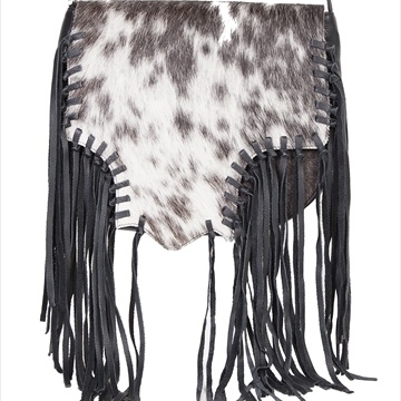 Scully B82-HB-ONE 100 Percent Leather Hair On Calf Handbag With Knotted Fringe Black все цены