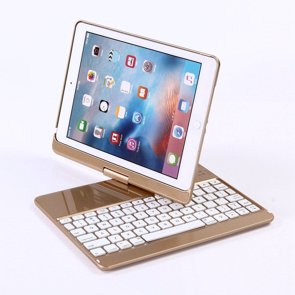 360 Degree Rotation For New iPad 9.7 2017 Keyboard Case Wireless Bluetooth LED Backlit Funda for iPad 2017 9.7 Keyboard Cover 360 degree rotate 7color backlit abs plastic bluetooth keyboard for ipad 9 7 2017
