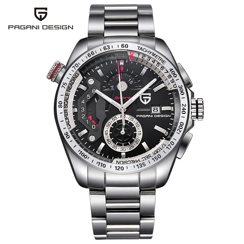где купить PAGANI DESIGN High Quality Sport Men Wristwatch Quartz Chronograph Date Stainless Steel Watchband Military Army Watches Gift по лучшей цене