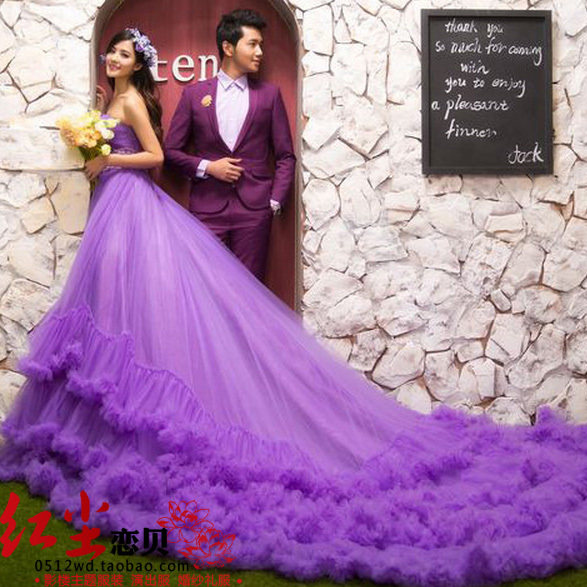 Free Shipping 2014Photography Studio Theme Wedding Purple Dress Costume Large Tailing Couple Photolocationbridal Gown Mermaid