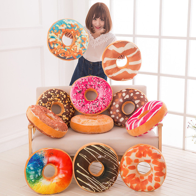 2017 New Funny Cartoon Sweet Chocolates Donuts Sofa And Chair Back Cushion Car Mats High Quality 3D Pillow Toy Christmas Gift