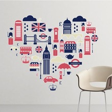 Love Heart Tower UK Hamburger England Landmark Illustration Pattern Removable Wall Sticker City Buildings Art Decals Wallpaper