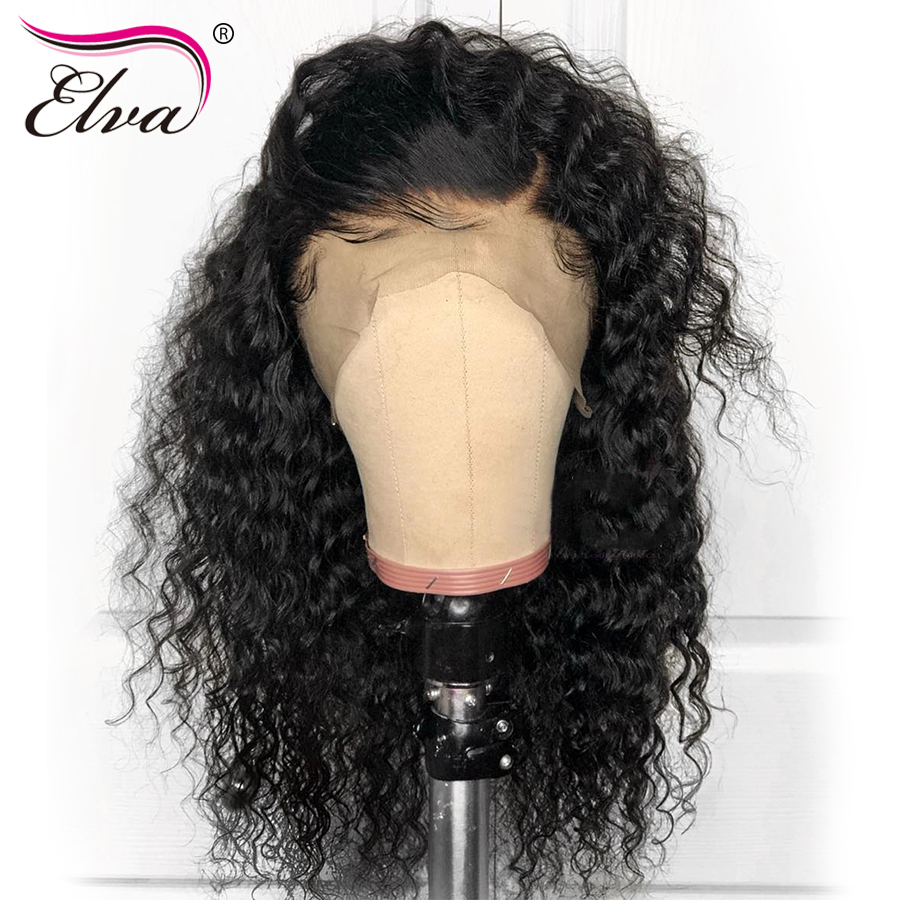 13x6 Curly Lace Front Human Hair Wigs For Black Women 150% Density Brazilian Remy Hair Lace Front Wig With Baby Hair Elva 10-24