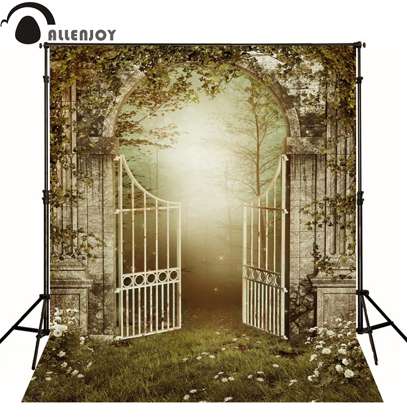 Allenjoy Photographic background Fog garden gate grass newborn photography custom wood shower