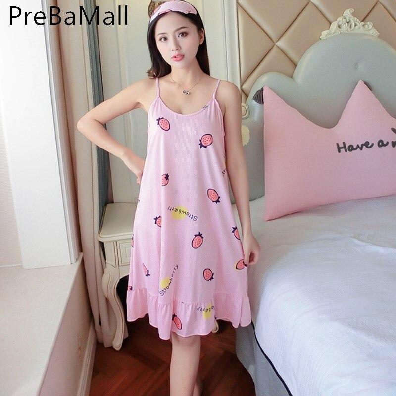 Women Clothes Nightdress Sleepwear Womens Sexy Nightgown Print Loose Casual Sling Night Dress Woman Nighty Wear Clothing D23