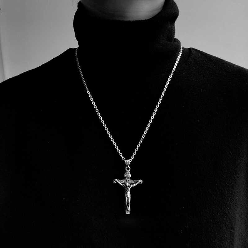 Cadeia de hip hop das mulheres dos homens casal colares Colar À Prova D' Água Homens Chain Link Curb Chains colar de aço inoxidável cadeia colar cruz
