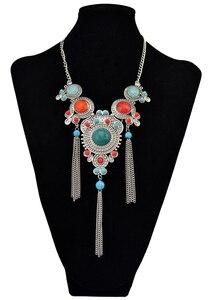 Богемное винтажное Длинное колье с кисточками и разноцветными бусинами Boho Макси ожерелье с цыганским цветком нагрудник для женщин