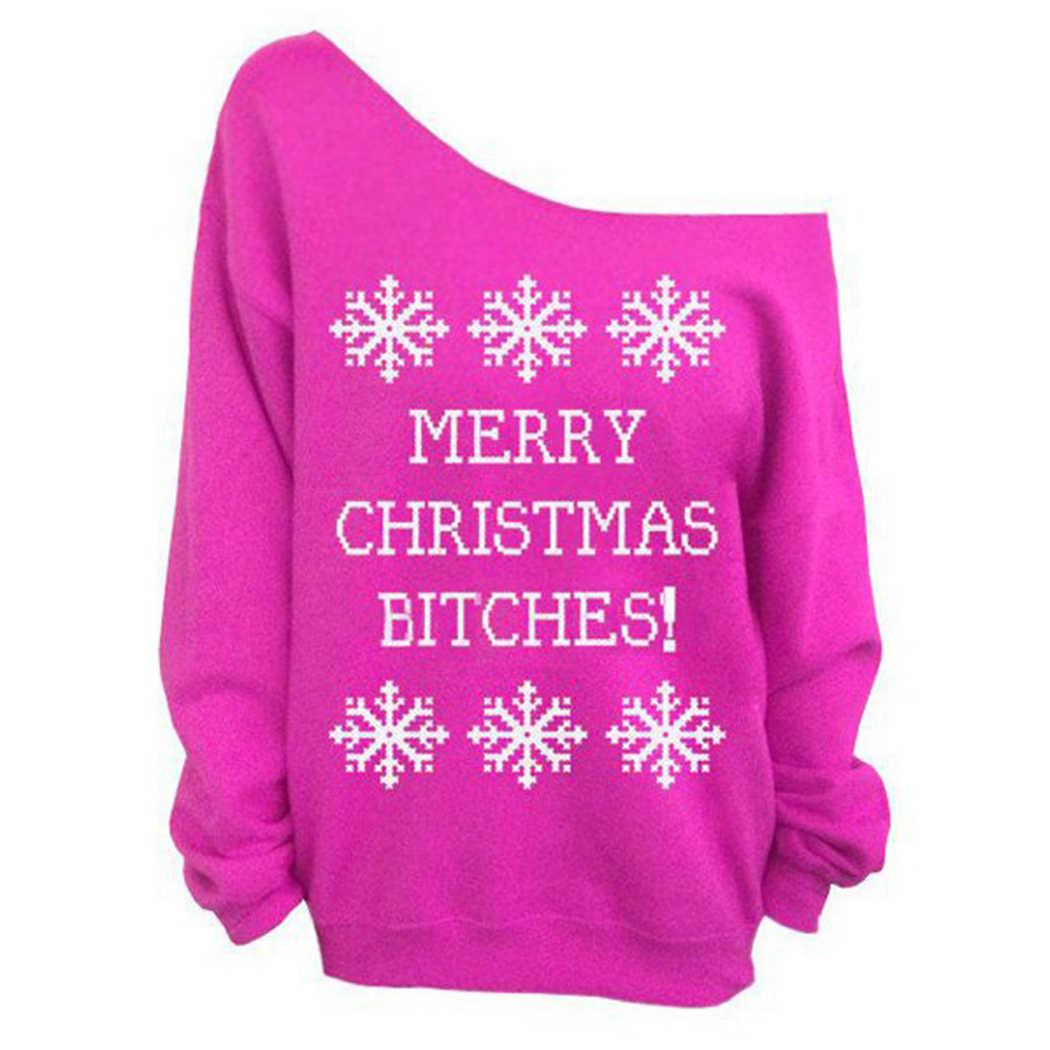 Christmas Tops For Women.Women Letter Snowflake Printed Hoodies Christmas Tops Sexy Off Shoulder Long Sleeve Sweatshirts Pullover Female Jumper Moletom