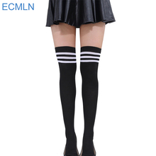 Striped High Thigh Long Cotton Stockings
