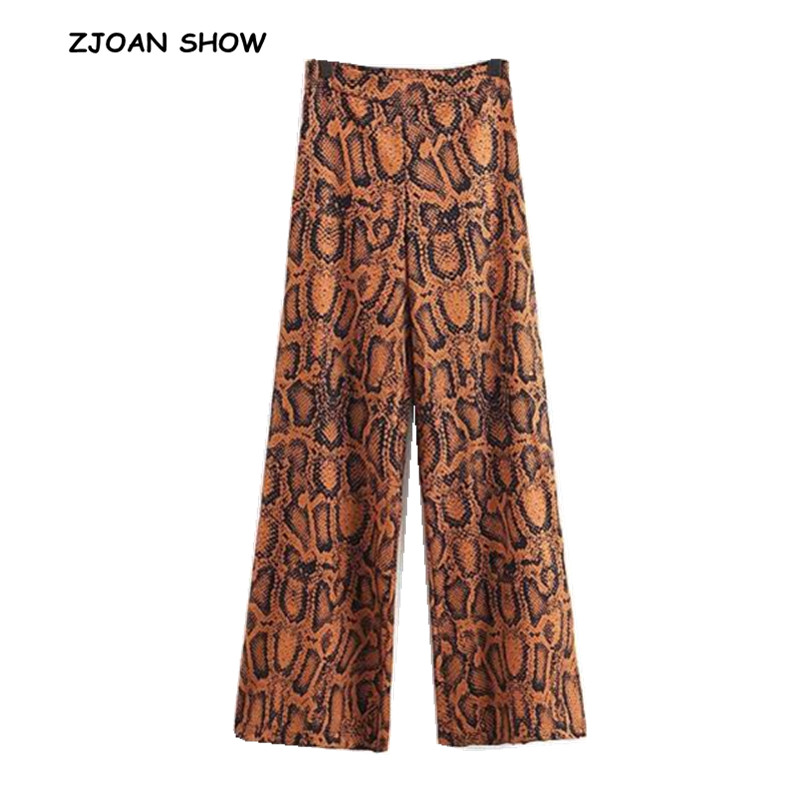 Ethnic Snake Pattern print   Wide     Leg     Pants     Pants   Retro New 2018 Women Tribal African Print Long Trousers Full Length Hippie   Pants