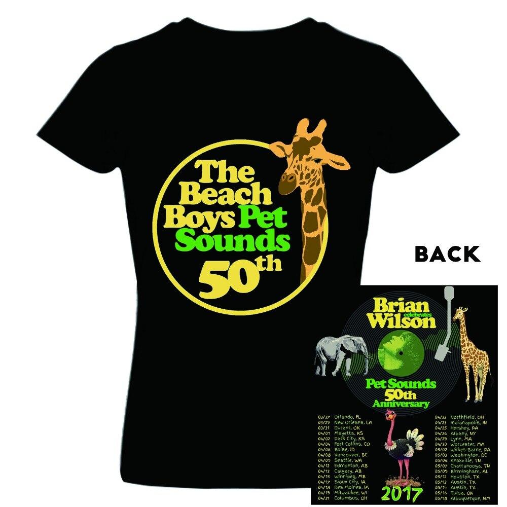 American Music Band T-Shirt Brian Wilson Pet Sounds 2017 Concert Tour Date T Shirt camisas Hip Hop Tops Men Women Heavy Cotton