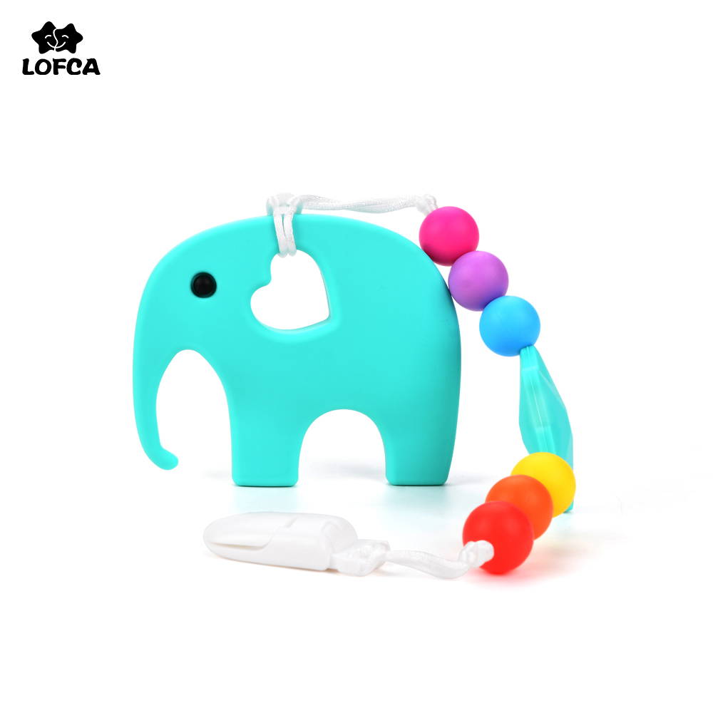 Colorful Elephant Teething Pacifiers Silicone beads BPA Free Teething Toy For Baby Silicone Necklaces Safe Holder Accessory