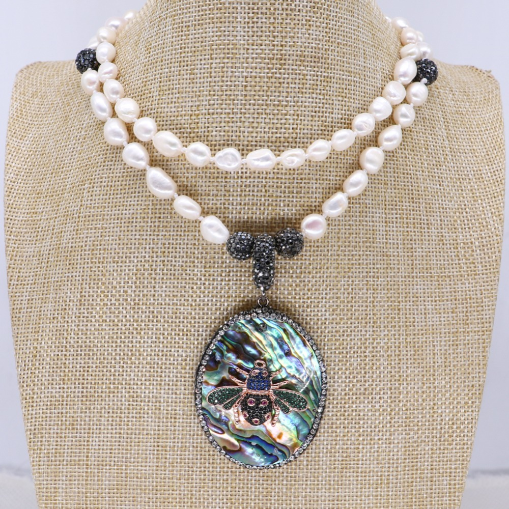 Wholesale Natural pearls necklace abalone pendant with zircon bugs jewelry pendant necklace jewelry gift for lady 4134