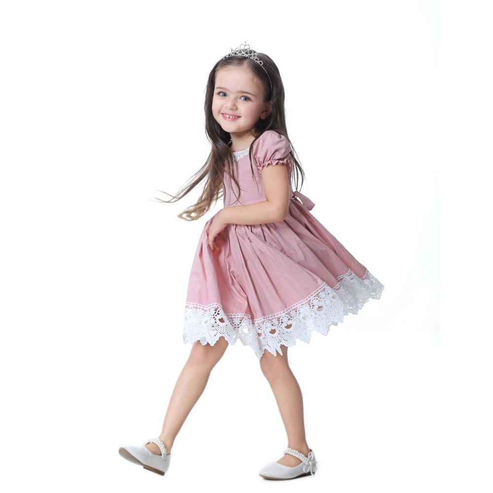 HTB1Gc2vgZLJ8KJjy0Fnq6AFDpXar - Toddler Girl Dress Solid Pink Lace Wedding Party Dress 2018 Brand Summer Princess Dresses Clothes Size 1-8 vestido infantil