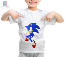 NEW Sonic 026 Kingdom Funny T-shirt Kids Baby Summer Cute Clothes Boys Girls Tops Sonic T shirt(China)
