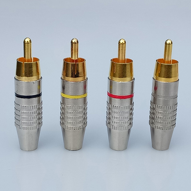 20pcs Welding free rca connector Gold Plated Microphone male plug ...