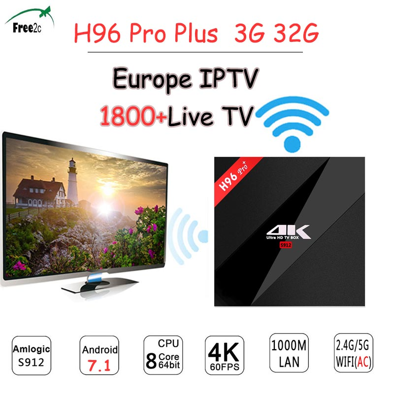 1 Year POLAND/Italy Europe EX-YU/French IPTV Subscription 1800+Channels H96 pro plus Android7.1 3G/32G 1000M LAN set top tv box